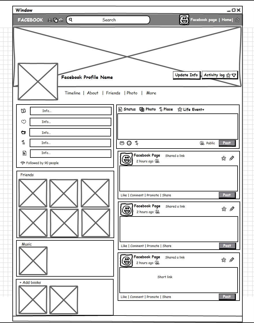 social network profile template - social network profile page wireframe mockup builder