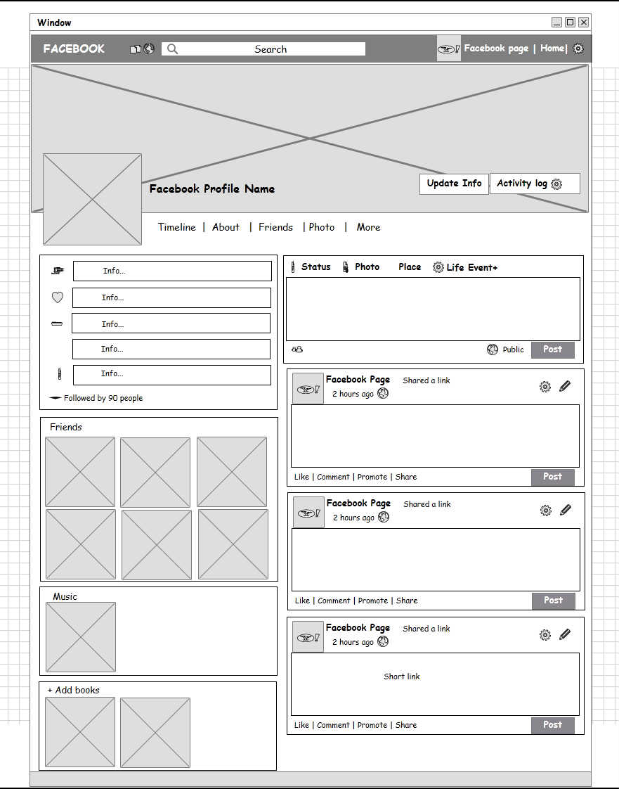 Social network profile page wireframe mockup builder for Social network profile template
